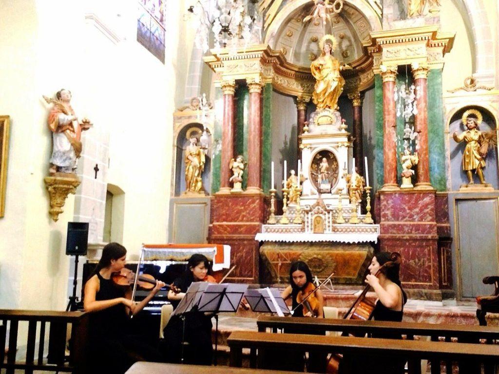 フランス/プラード・カザルス音楽祭(教会)にて スペイン人との弦楽四重奏 シューベルト「死と乙女」を演奏